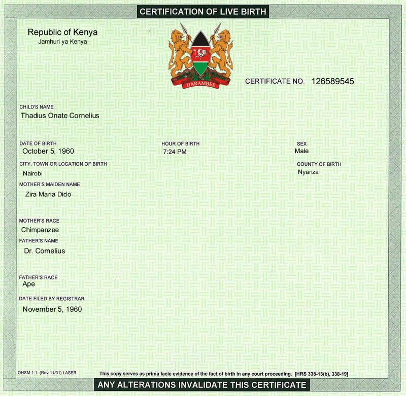 Kenya Birth Certificate Found